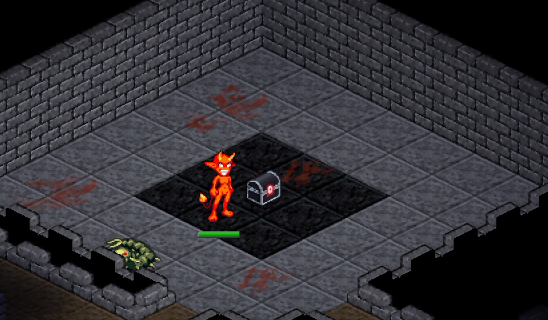A room with a dark colored chest and a red glowing latch surrounded by stone tiles with rust colored smears on them